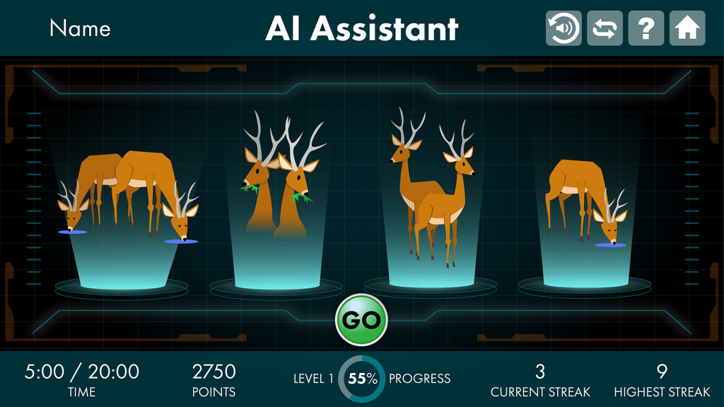 A still of AI Assistant exercise, or two deer drinking, two deer eating, two deer standing, and