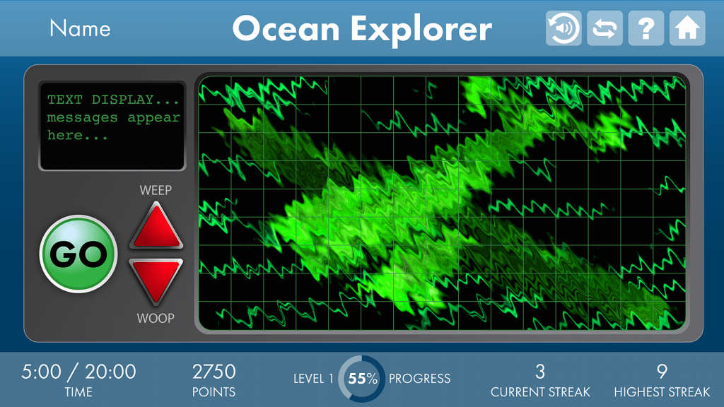 A still from Ocean Explorer exercise: green radar image of an aerial vehicle, with game features on left and bottom bars