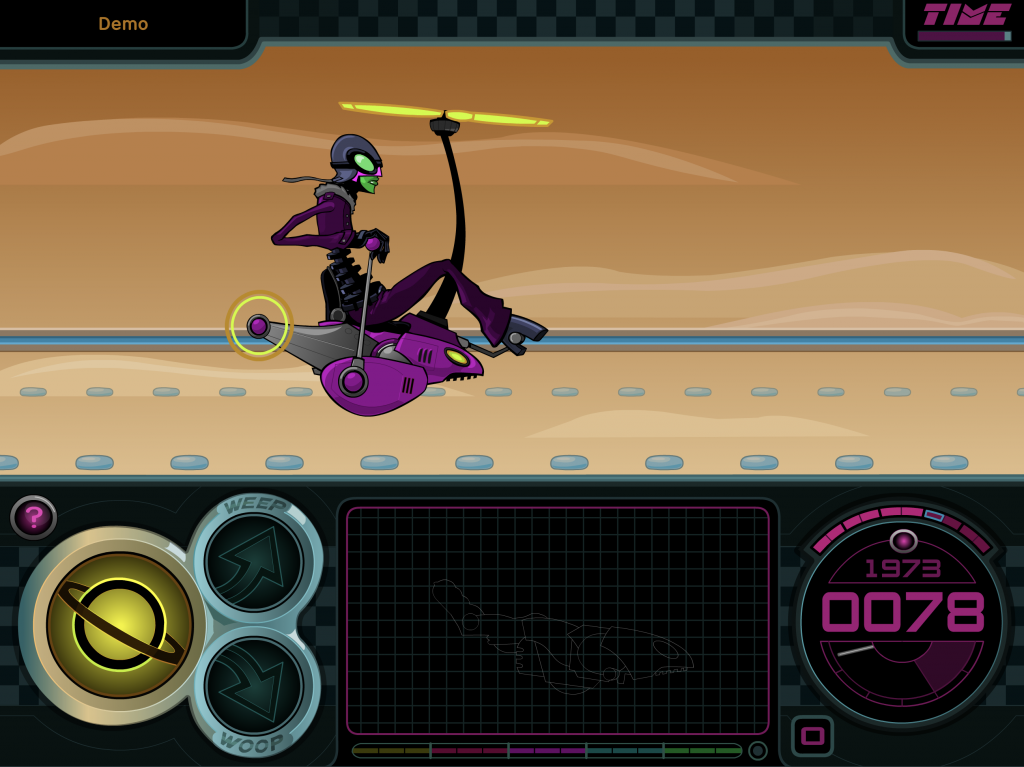 Still image of Space Racer exercise: alien character riding a vehicle with a propeller, with game functions on bottom bar