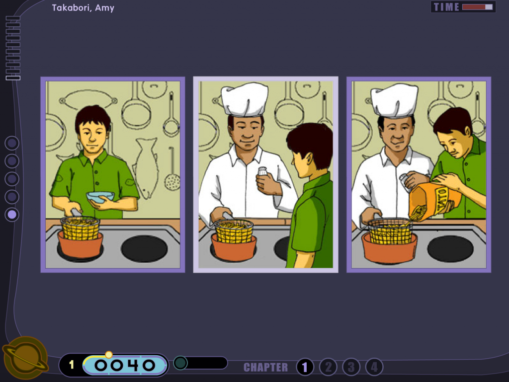 A still of Stellar Stories exercise: three images side by side of a busboy making fries, a chef making fries for a busboy, and a chef and busboy making fries together