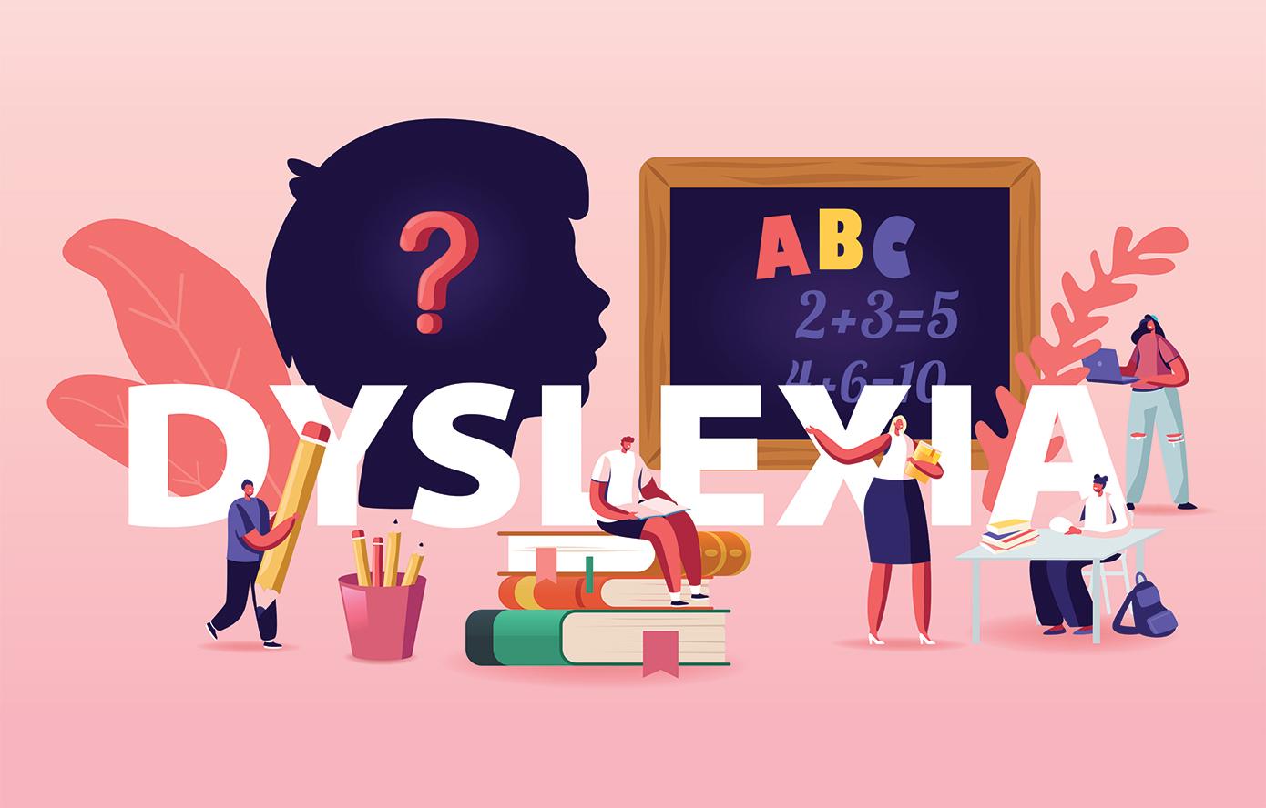 dyslexia, illustrated profile of child's head, blackboard, books, man holding giant pencil, teacher
