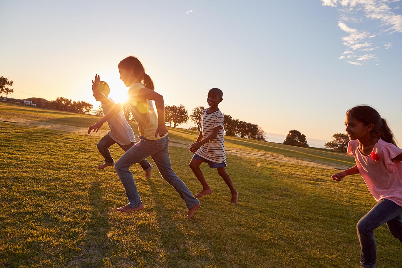 Kids running uphill